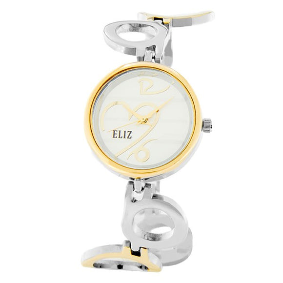 Eliz Women's White Dial Gold plated case and bracelet Band Analog Watch ES8652L2twt 1