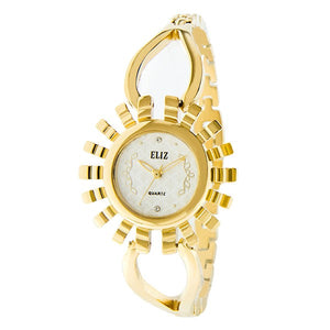 Eliz Women's White Dial Gold plated case and bracelet Band Analog Watch ES8653L2GWG 1
