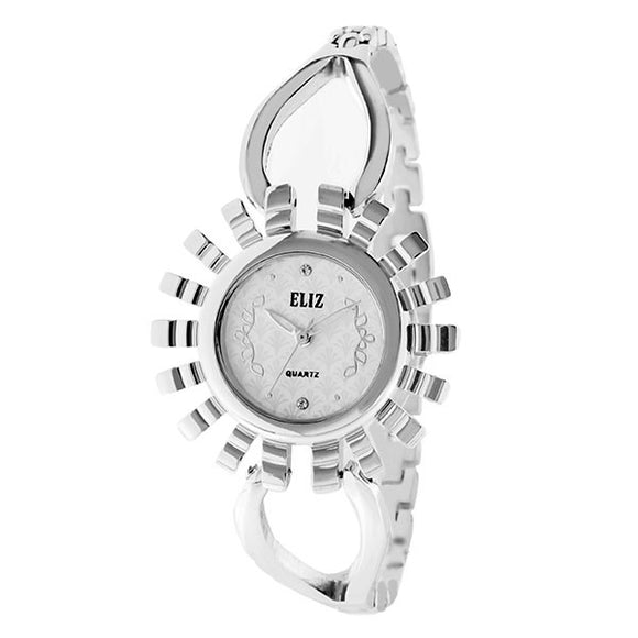 Eliz Women's White Dial Silver plated case and bracelet Band Analog Watch ES8653L2SWS 1