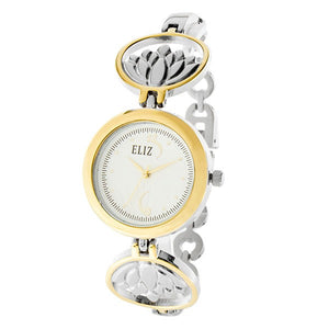 Eliz Women's White Dial  Two-Tone Gold plated case and bracelet Band Analog Watch ES8653L2TWT 1