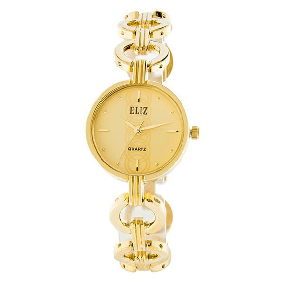 Eliz Women's Champagne Dial Gold plated case and bracelet Band Analog Watch ES8658L2GCG 1
