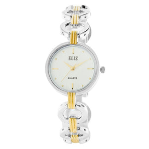 Eliz Women's White Dial Two-Tone Gold and Silver plated case and bracelet Band Analog Watch ES8658L2TWT 1