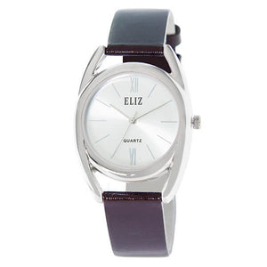 Women's White Dial Brown Genuine Leather strap Silver plated Case analog Watch ES8659L1SWO 1