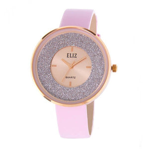 Eliz Women's Pink Dial Pink Genuine Leather strap Rose Gold plated Case analog Watch ES8660L1RPP 1