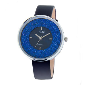 Eliz Women's Blue Dial Blue Genuine Leather strap Silver plated Case analog Watch ES8660L1SBB 1