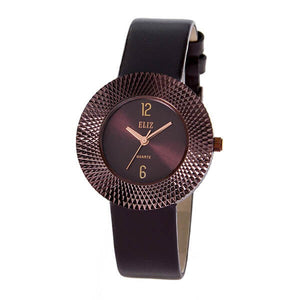 Eliz Women's Brown Dial Brown Genuine Leather strap Brown plated Case analog Watch ES8661L1OOO 1