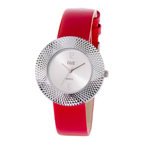 Eliz Women's White Dial Red Genuine Leather strap Silver plated Case analog Watch ES8661L1SWR 1