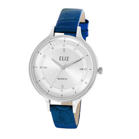 Eliz Women's White Dial Blue Genuine Leather strap Silver plated Case analog Watch ES8663L1SWB 1