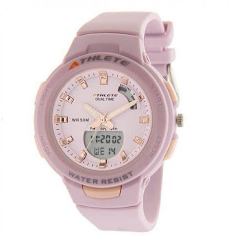 Eliz Unisex Pink Dial Pink Case and Polyurethane Band Digital and Analog Watch ES8665L8VVV 1