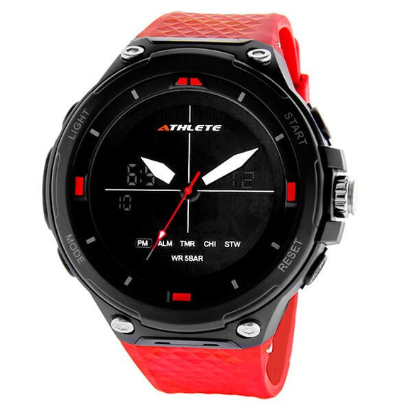 Eliz Men's Black Dial Black Case and Red Polyurethane Band Digital and Analog Watch ES8666L8NNR 1