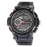 Eliz Men's Black Dial Black Case and Red Polyurethane Band Digital and Analog Watch ES8667L8NNR 1