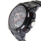 Eliz Men's Black Dial Black Case and Red Polyurethane Band Digital and Analog Watch ES8667L8NNR 2