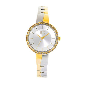 Eliz Women's White Dial Two-Tone Gold Plated Stainless steel case and band analog Watch ES8668L2TWT 1