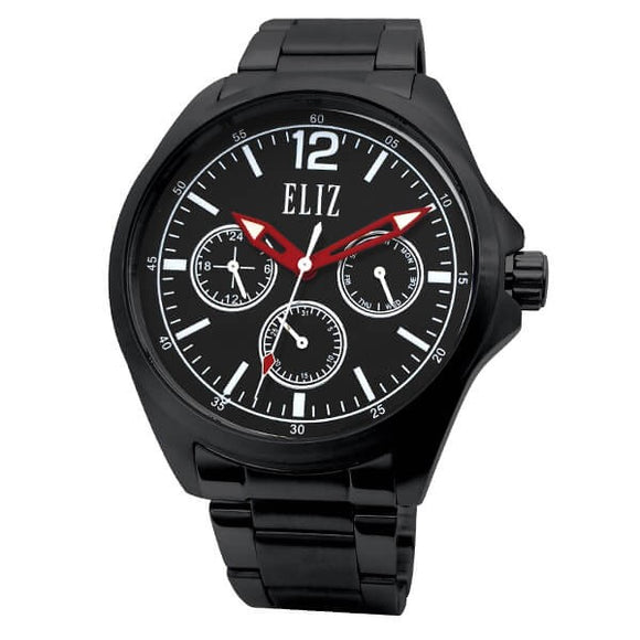 Eliz Men's Black Dial Black Plated Stainless steel case and band Multi-function Watch ES8679G2NNN 1