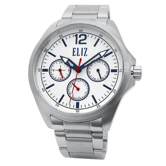 Eliz Men's White Dial Stainless steel case and band Multi-function Watch ES8679G2SWS 1