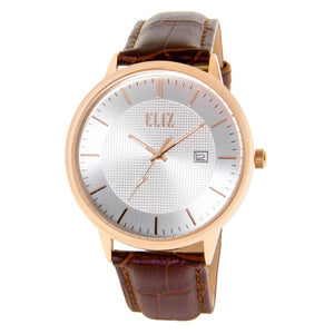 Eliz Men's Silver Dial Rose Gold plated Stainless steel case Brown genuine leather Analog Watch  ES8700G1RSO 1