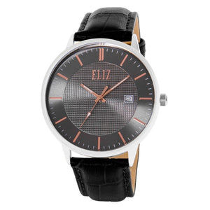 Eliz Men's Black Dial Stainless steel case Black genuine leather Analog Watch  ES8700G1SNN 1