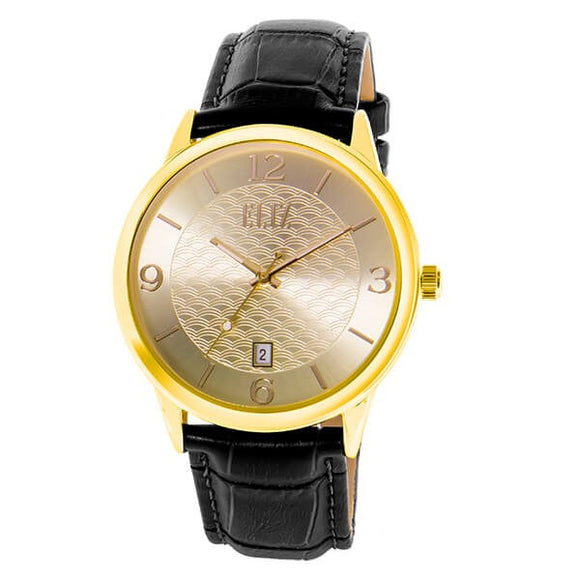 Eliz Men's Champagne Dial Gold plated Stainless steel case Black genuine leather Analog Watch  ES8701G1GCN 1