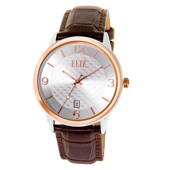 Eliz Men's Silver Dial Two-Tone Rose God plated Stainless steel case Brown genuine leather Analog Watch ES8701G1USO 1