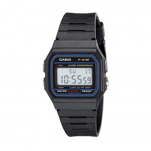 Casio Unisex Black Dial Black Resin case and silicon Band F91W