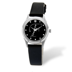 Eliz women's Black dial Black genuine leather strap stainless steel case Analog Watch ES15-7990L SNN-F