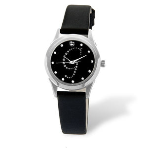 Eliz women's Black dial Black genuine leather strap stainless steel case Analog Watch ES15-7990L SNN-G