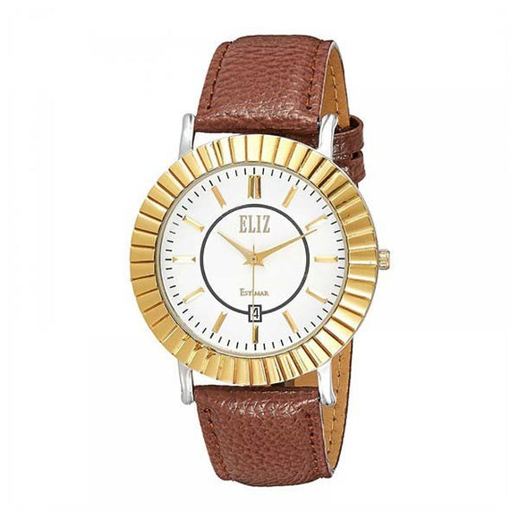 Eliz White Dial Two-Tone Gold plated case Brown genuine leather Watch  ES8074G1TWO 1