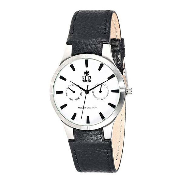 Eliz White Dial Black genuine leather Multi function watch ES7689G1SWN 1