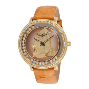 Blade women's Champagne Dial  Tan Brown Genuine Leather Band PVD Gold Plating Stainless Steel Case Back The Dhow Gold 1