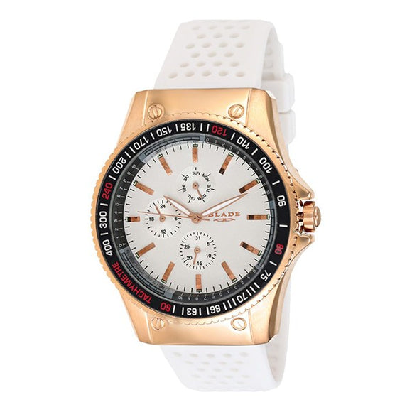 Blade Men's White Dial Rose Gold Stainless Steel Case White Polyurethane Band Multifunction Watch 3092G8RWW 1