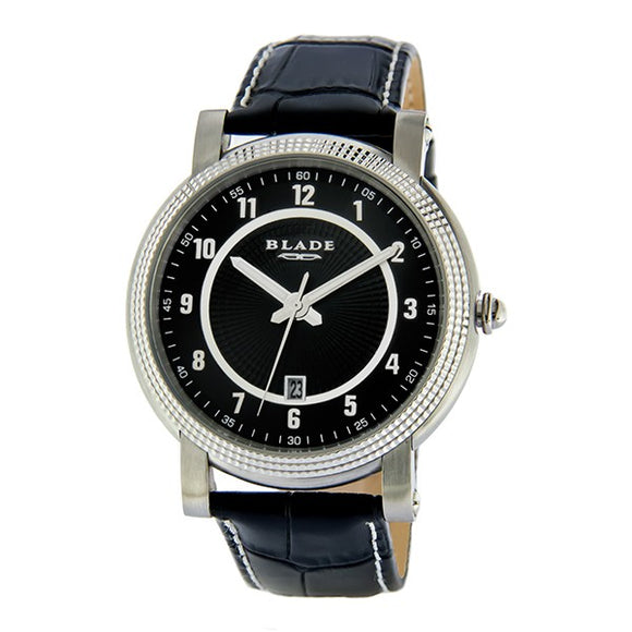 Blade Men's Black Dial Leather Strap Analog Watch 10-3279GSS-SNN 1