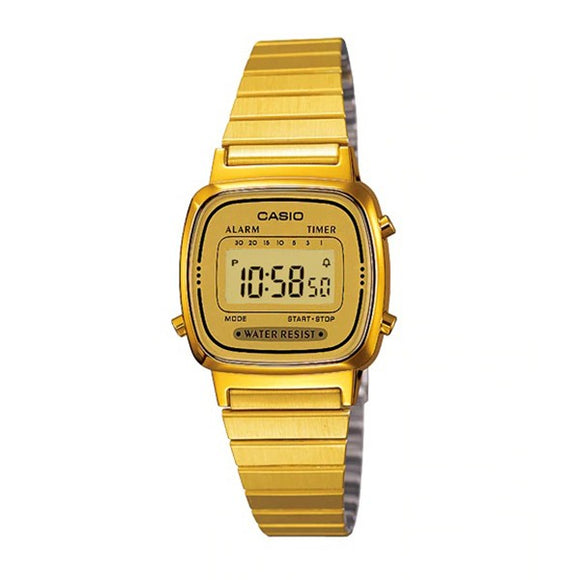 Casio Women's Gold Dial Gold plated Case and Band Digital Watch LA670WGA-9DF