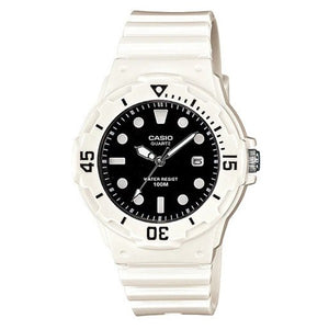 Casio Women's Black Dial White Resin Band Analog Watch LRW-200H-1E