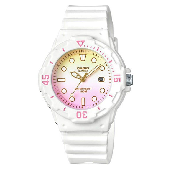 Casio Women's Multi-color Dial White Resin Band and case Analog Watch LRW-200H-4E2