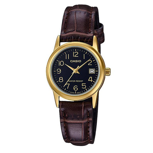 Casio Women's Black Dial Gold plated Case Brown Genuine Leather strap Analog Watch LTP-V002GL-1B