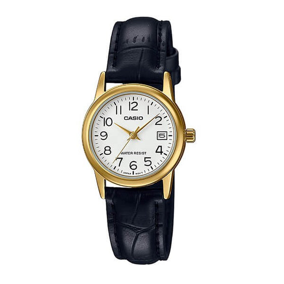 Casio Women's White Dial Gold plated Case Black Genuine Leather strap Analog Watch LTP-V002GL-7B2UDF