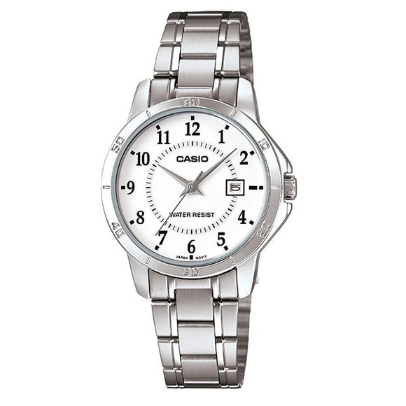 Casio Women's White Dial Stainless Steel Band Analog Watch LTP-V004D-7B