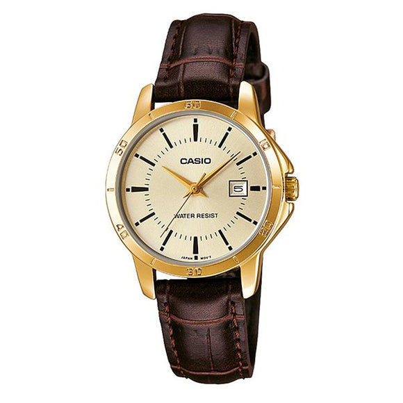 Casio Women's Gold Dial Gold plated Case Brown Genuine Leather Analog Watch LTP-V004GL-9A