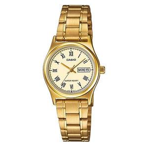 Casio Women's Beige Dial Gold Plated Analog Watch LTP-V006G-9B