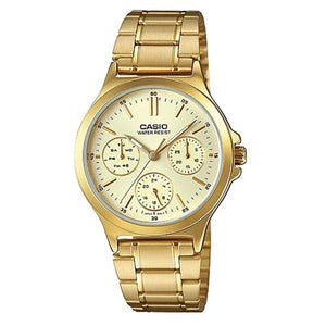 Casio Women's Beige Dial Gold plated Case and Band Multi-Function Watch LTP-V300G-9A