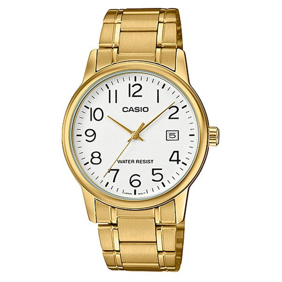 Casio Men's White Dial Gold plated Case and band Analog Watch  MTP-V002G-7B2