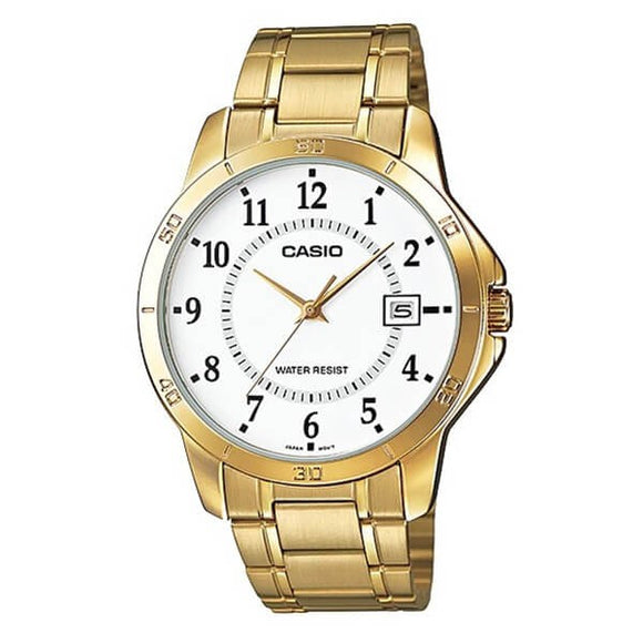 Casio Women's White Dial Gold plated Case and Band Analog Watch MTP-V004G-7BUDF