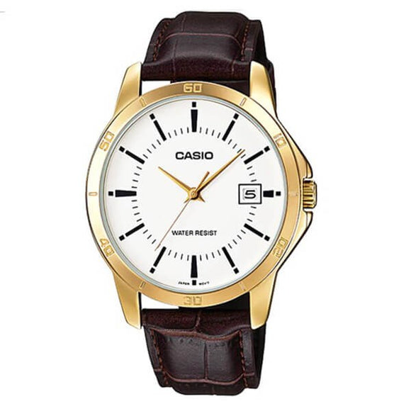 Casio Men's White Dial Leather Strap Analog Watch MTP-V004GL-7AUDF
