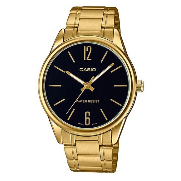 Casio Men's Black Dial Gold Plated Analog Watch MTP-V004G-1B