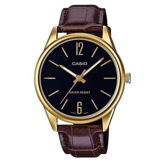 Casio Men's Black Dial Gold plated Case Brown Genuine Leather Band Analog Watch MTP-V005GL-1B