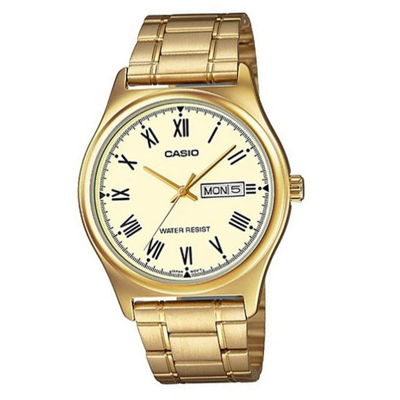 Casio Men's Gold Dial Gold plated Case and Band Analog Watch MTP-V006G-9B