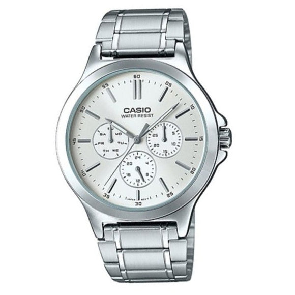 Casio Men's White Dial Case and Band Multi_function Watch MTP-V300D-7A