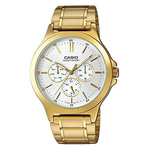 Casio Men's White Dial Gold plated Case and Band Multi_function Watch MTP-V300G-7A