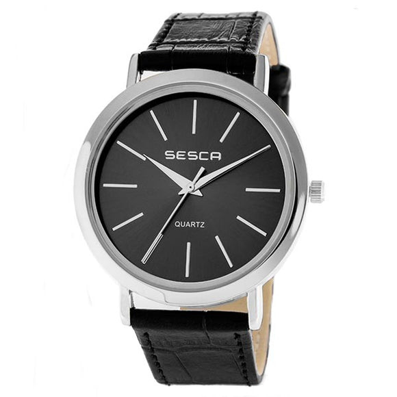 Sesca Men's Leather Band Watch - S10374G-SNN  1