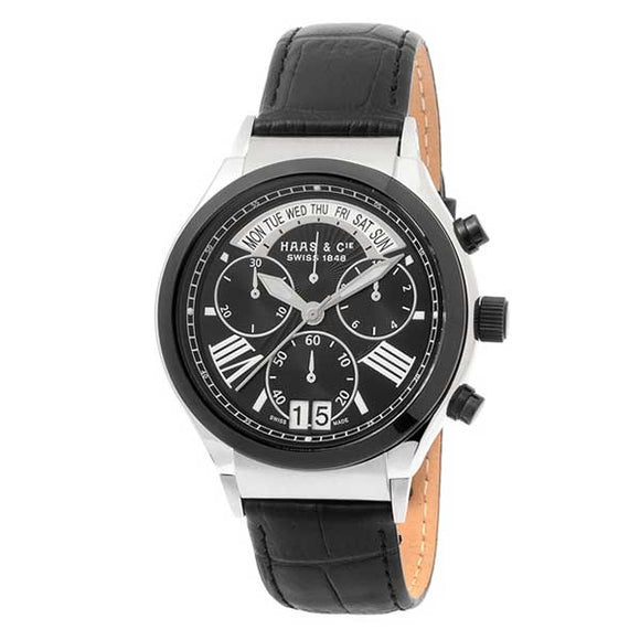 Haas & Cie Swiss Made Men's Leather Band Chronograph Watch SMBH016TBA